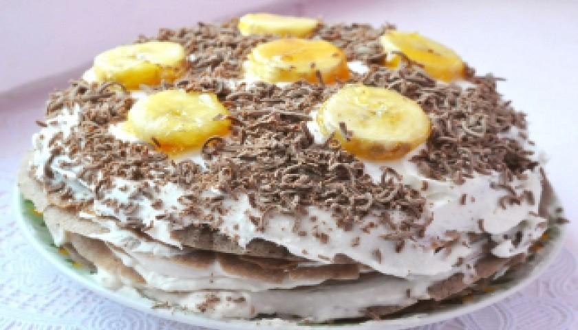 Масленица - блинный торт с бананом