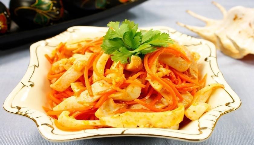 Кальмары по корейски - пикантная острая закуска