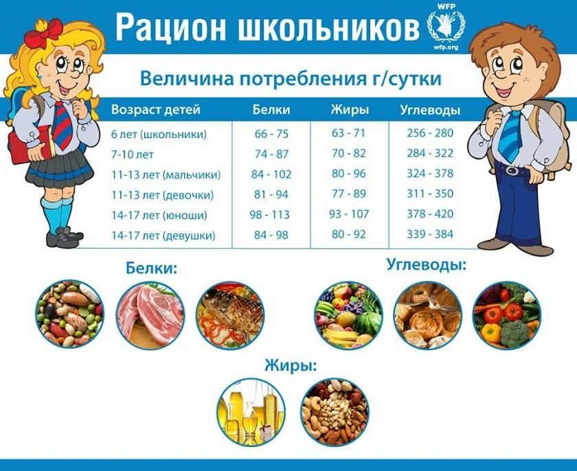Примерное меню школьника - принципы питания