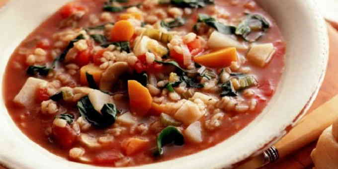 Постные рецепты - перловый суп с овощами