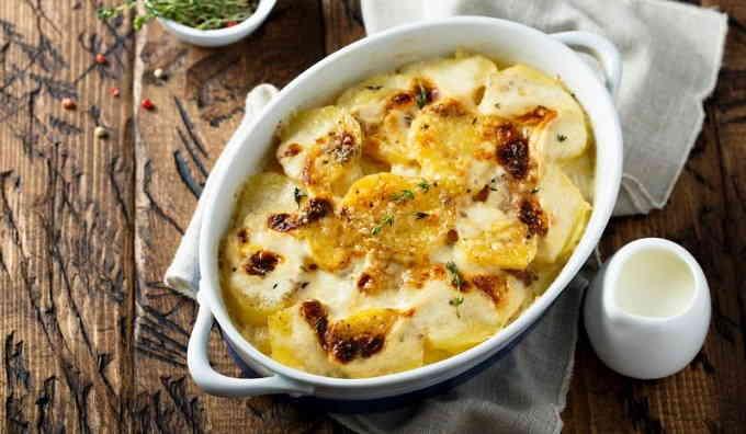 Гратен из картофеля в лимонно-сливочном соусе